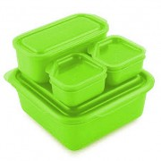 Goodbyn Goodbyn Portions-on-the-Go Groen Brooddoos met compartimenten en extra potjes