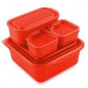 Goodbyn Goodbyn Portions-on-the-Go Rood Brooddoos met compartimenten en extra potjes