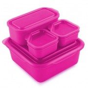 Goodbyn Goodbyn Portions-on-the-Go Roze Brooddoos met compartimenten en extra potjes