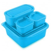Goodbyn Goodbyn Portions-on-the-Go Blauw Brooddoos met compartimenten en extra potjes