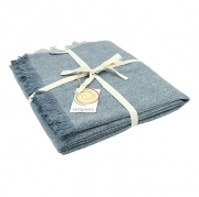 Respiin Wollen Plaid - Denim Warm dekentje van gerecycleerde wol