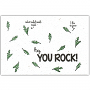 Bloom Your Message Bloeiwenskaart - You Rock Plantbare wenskaart met rucolazaadjes