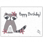 Bloom Your Message Bloeiwenskaart - Happy Birthday Raccoon Plantbare verjaardagskaart