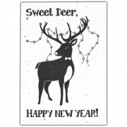 Bloom Your Message Bloeiwenskaart - Sweet Deer, Happy New Year Plantbare kerstkaart