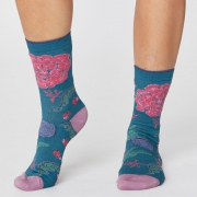 Thought Chaussettes Bambou - Grand Floral Kingfisher