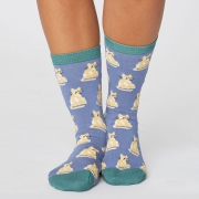 Thought Chaussettes Bambou - Cute Cat Sea Blue