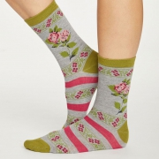Thought Chaussettes Bambou - Folk Floral Grey Marle