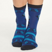 Thought Chaussettes Bambou - Folk Floral Sapphire Blue