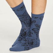 Thought Chaussettes Bambou - Sketchy Floral Blue Slate