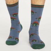 Thought Chaussettes Bambou - Dinosaure Stégosaure Blue Slate